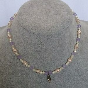 Girls pink, white, lavender beaded necklace